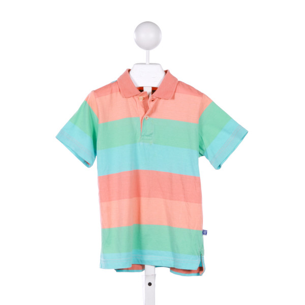 E-LAND  PINK  STRIPED  KNIT SS SHIRT