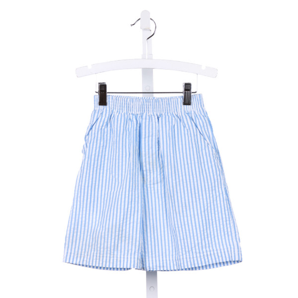 CHEZ AMI  BLUE SEERSUCKER STRIPED  SHORTS