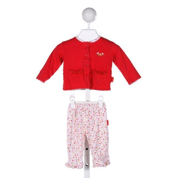 RABBIT MOON  MULTI-COLOR  FLORAL EMBROIDERED 2-PIECE OUTFIT WITH RUFFLE