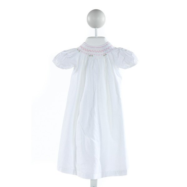 REMEMBER NGUYEN  IVORY   SMOCKED DRESS WITH LACE TRIM