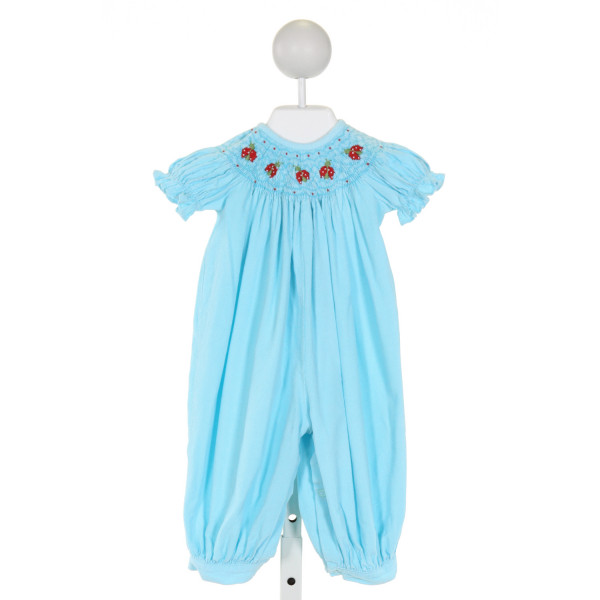 LITTLE ENGLISH  LT BLUE CORDUROY  SMOCKED ROMPER WITH RUFFLE