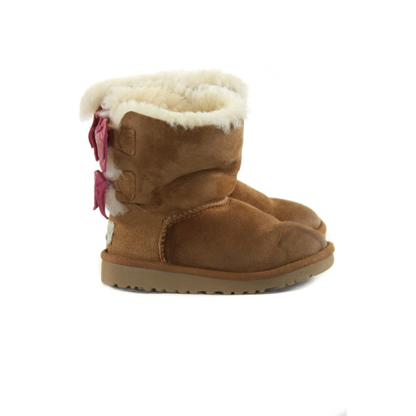 UGG BROWN BOOTS WITH PINK BOWS *SIZE TODDLER 10, GUC - DISCOLORATION AND WEAR