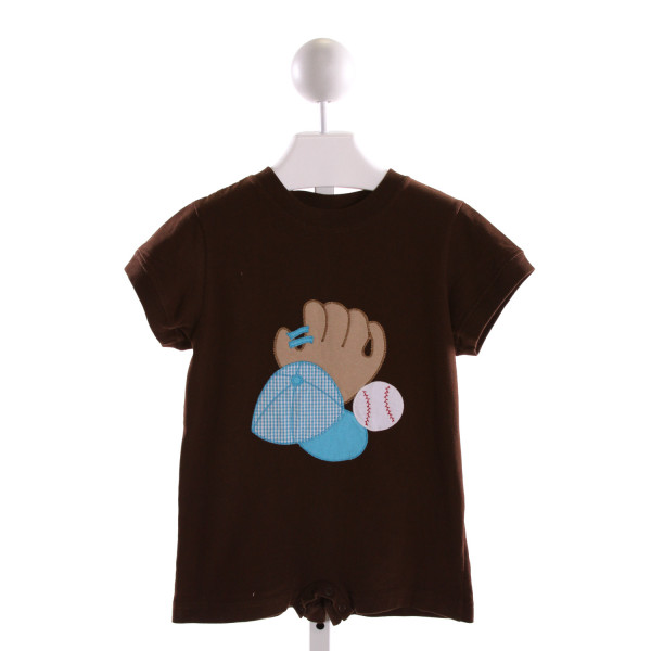 KELLY'S KIDS  BROWN   EMBROIDERED KNIT SHORTALL