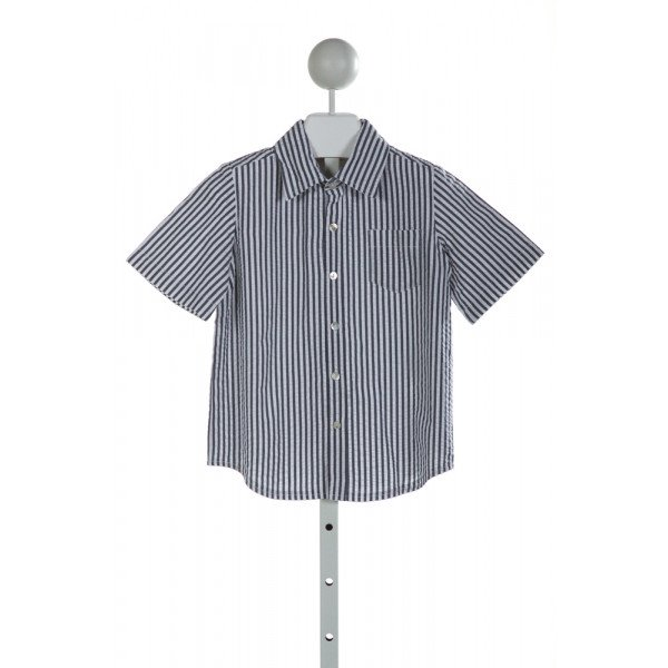HANNAH KATE  BLUE SEERSUCKER STRIPED  CLOTH SS SHIRT