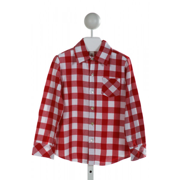 HANNAH KATE  RED  GINGHAM  CLOTH LS SHIRT