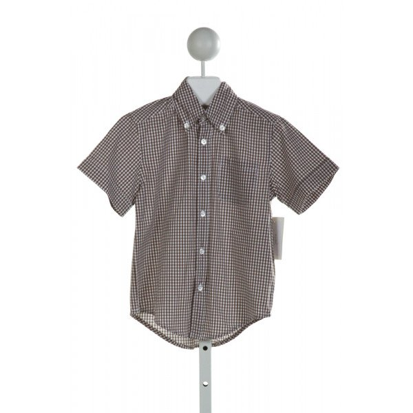 KATE & LIBBY  BROWN  GINGHAM  CLOTH SS SHIRT
