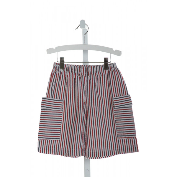 HANNAH KATE  RED SEERSUCKER STRIPED  SHORTS