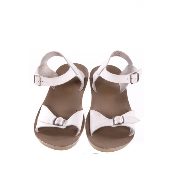 WHITE AND KHAKI SUN SANS/ SALTWATER SANDALS *SIZE 2, VGU - MINOR DISCOLORATION