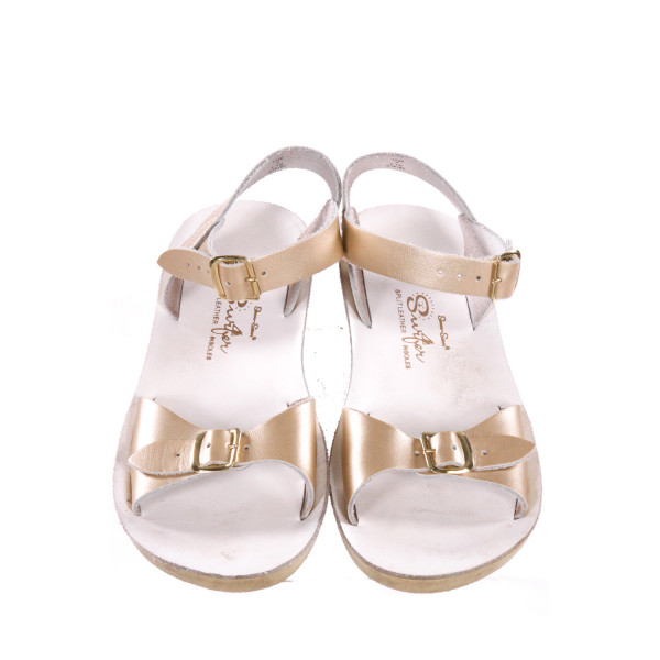 WHITE AND GOLD SUN SANS/ SALTWATER SANDALS *SIZE 2, EUC, SOME SOLE DICSOLORATION