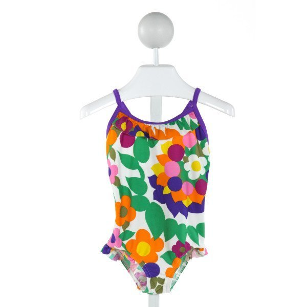 MINI BODEN  OFF-WHITE  FLORAL  1-PIECE SWIMSUIT WITH RUFFLE
