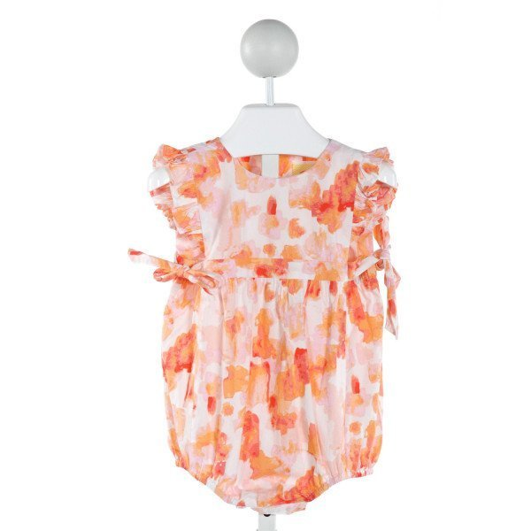 SOUTHERN SUNSHINE KIDS  ORANGE  FLORAL  BUBBLE WITH RUFFLE