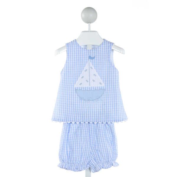 BAILEY BOYS  LT BLUE SEERSUCKER GINGHAM EMBROIDERED 2-PIECE OUTFIT WITH RUFFLE