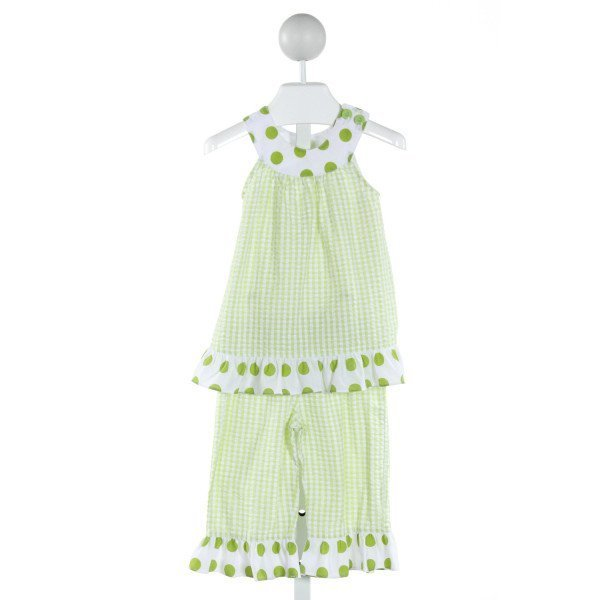 BAILEY BOYS  LIME GREEN SEERSUCKER GINGHAM  2-PIECE OUTFIT WITH RUFFLE