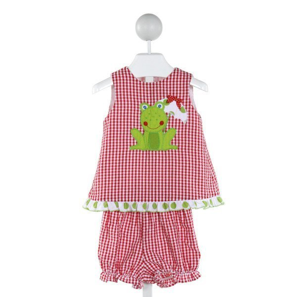 BAILEY BOYS  RED SEERSUCKER GINGHAM EMBROIDERED 2-PIECE OUTFIT WITH RUFFLE