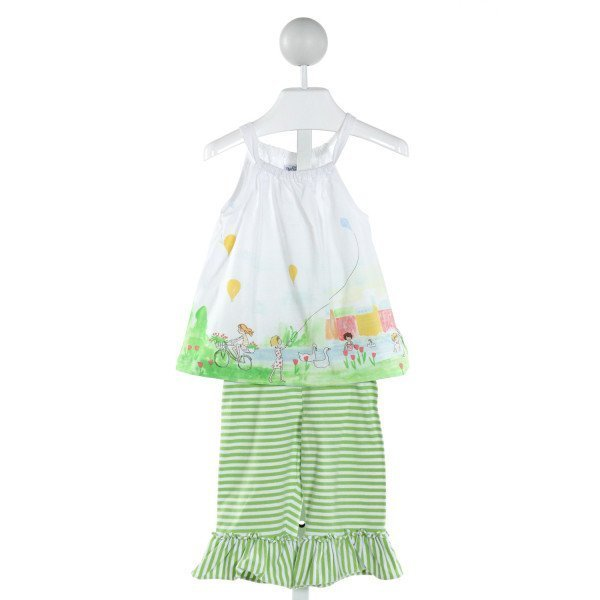 BAILEY BOYS  OFF-WHITE  STRIPED PRINTED DESIGN 2-PIECE OUTFIT WITH RUFFLE