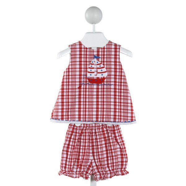 BAILEY BOYS  RED  PLAID EMBROIDERED 2-PIECE OUTFIT WITH RUFFLE