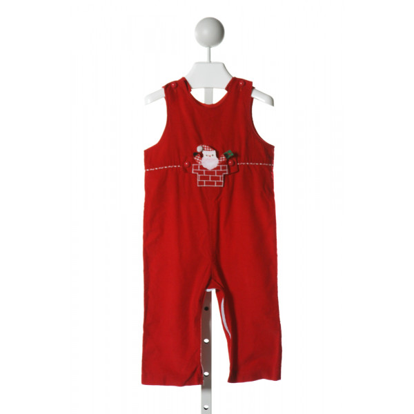 FUNTASIA TOO  RED CORDUROY  APPLIQUED LONGALL/ROMPER (K)