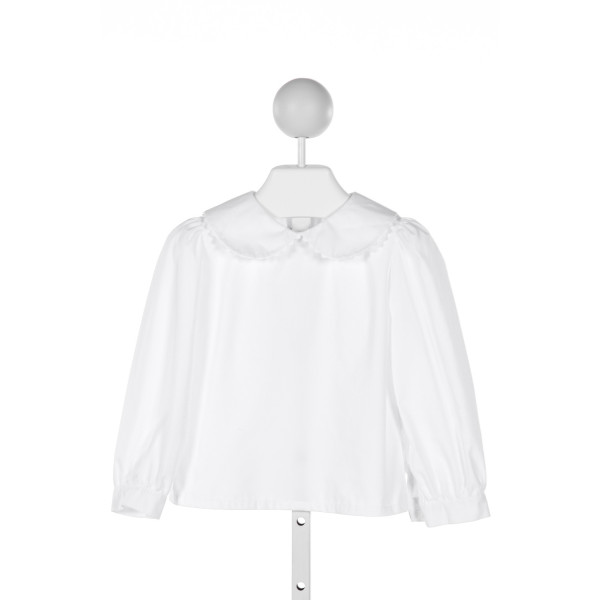 MARY & GRACE  WHITE   EMBROIDERED KNIT LS SHIRT WITH RUFFLE