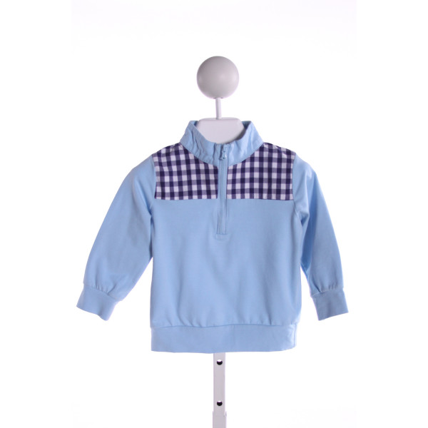 SMOCKINGBIRD  LT BLUE  GINGHAM  QUARTER ZIP PULLOVER