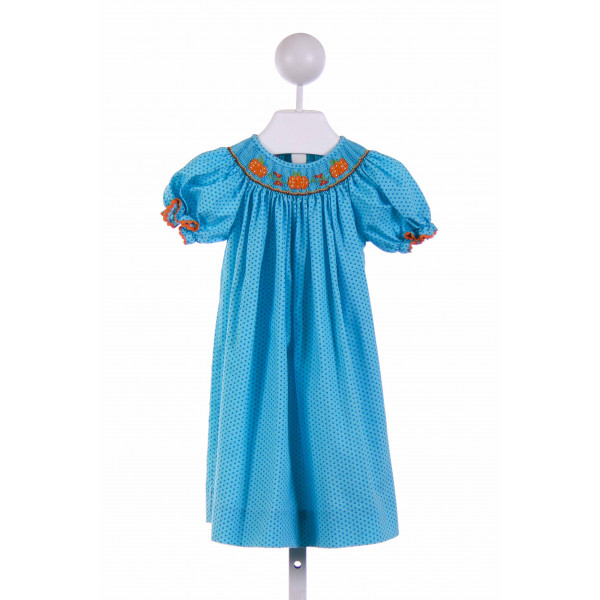 CUKEES  AQUA  POLKA DOT SMOCKED CASUAL DRESS