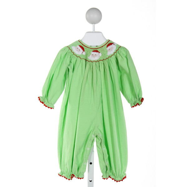 CASTLES & CROWNS  LT GREEN CORDUROY  SMOCKED ROMPER WITH RIC RAC