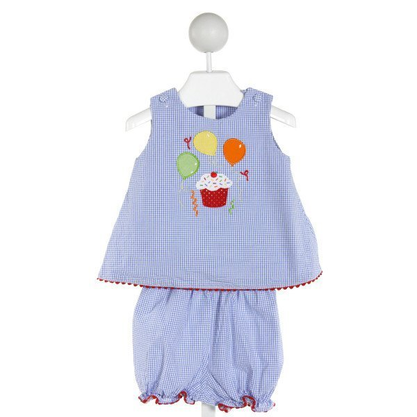 GLORIMONT  BLUE SEERSUCKER GINGHAM EMBROIDERED 2-PIECE OUTFIT WITH RIC RAC
