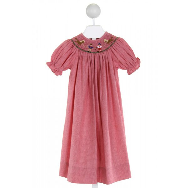 AMANDA REMEMBERED  RED  MICROCHECK SMOCKED DRESS WITH RIC RAC