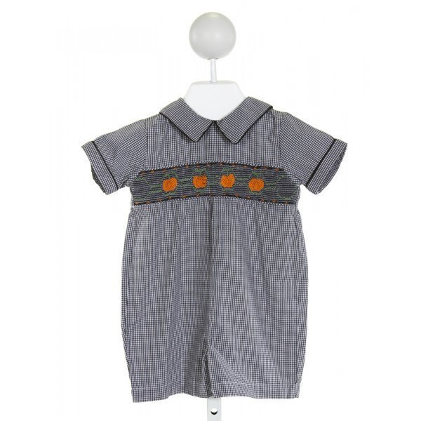 ROYAL CHILD  BLACK  GINGHAM SMOCKED JOHN JOHN/ SHORTALL
