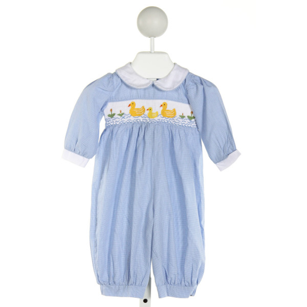 BE MINE  LT BLUE  MICROCHECK SMOCKED LONGALL/ROMPER
