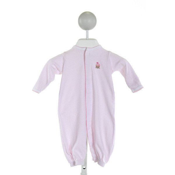 MAGNOLIA BABY  LT PINK  GINGHAM EMBROIDERED LAYETTE WITH PICOT STITCHING