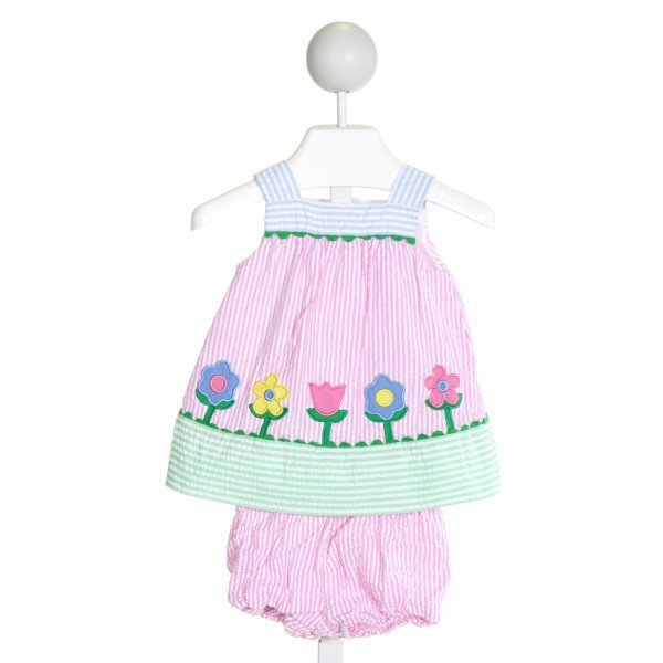 FLORENCE EISEMAN  LT PINK SEERSUCKER STRIPED EMBROIDERED 2-PIECE OUTFIT WITH RIC RAC (I)