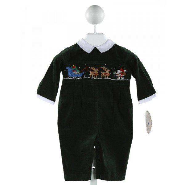 CARRIAGE BOUTIQUE  GREEN CORDUROY  SMOCKED LONGALL/ROMPER (I)