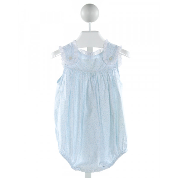 LITTLE LAUNDRY  LT BLUE  FLORAL  BUBBLE WITH EYELET TRIM