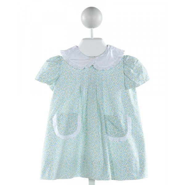 LITTLE LAUNDRY  BLUE  FLORAL  DRESS WITH RUFFLE