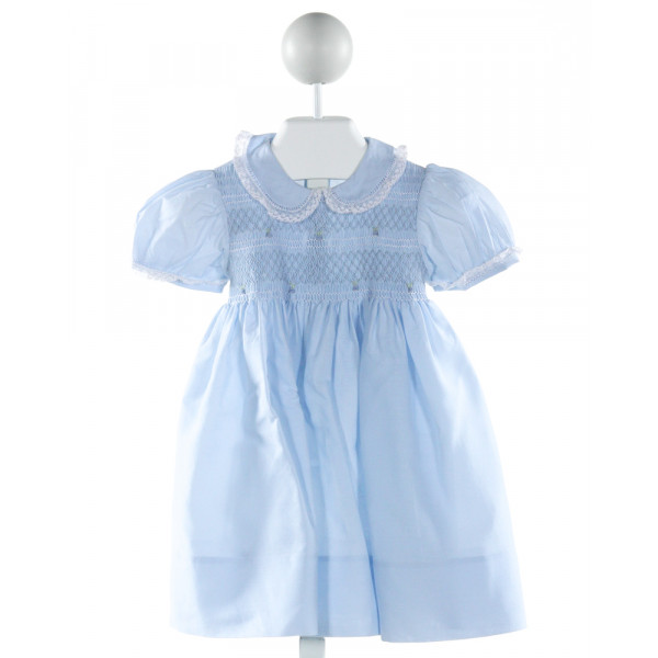 FELTMAN BROTHERS  LT BLUE   SMOCKED DRESS WITH LACE TRIM