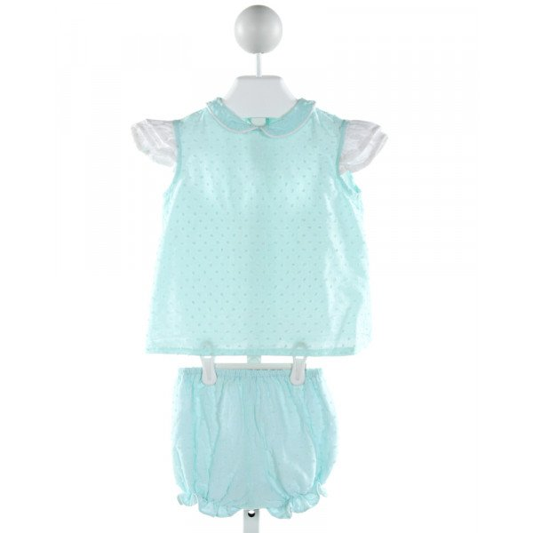ALICE KATHLEEN  AQUA  SWISS DOT  2-PIECE OUTFIT WITH RUFFLE