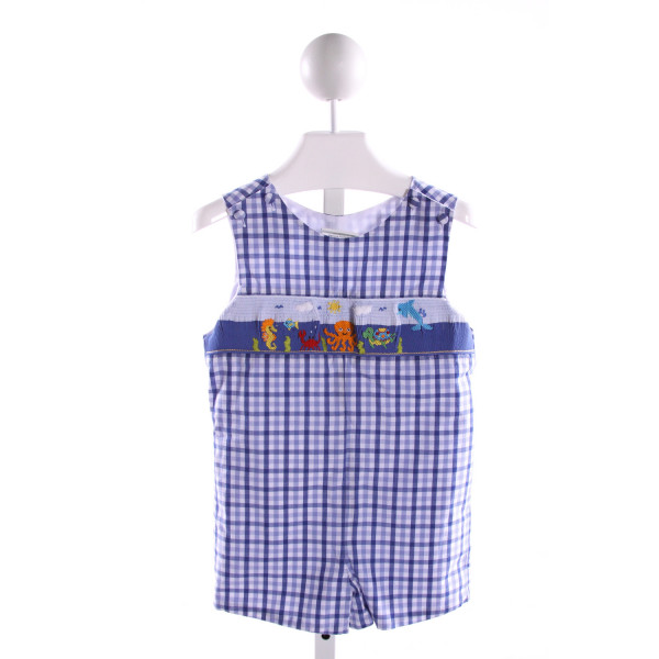 ZUCCINI  ROYAL BLUE  GINGHAM SMOCKED JOHN JOHN/ SHORTALL