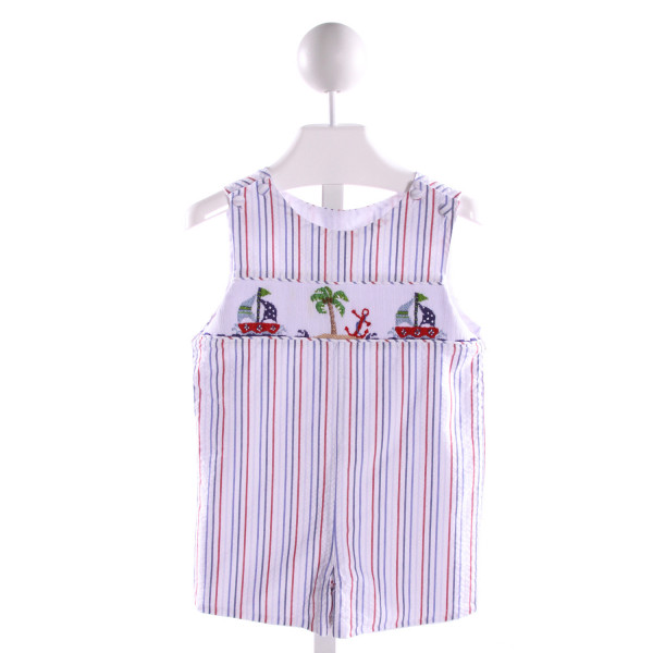 ZUCCINI  MULTI-COLOR SEERSUCKER STRIPED SMOCKED JOHN JOHN/ SHORTALL