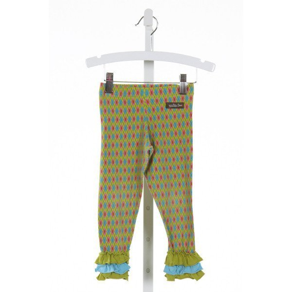MATILDA JANE  LT GREEN  PLAID  PANTS WITH RUFFLE