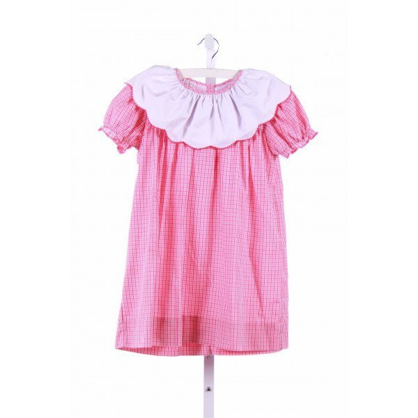 THE SMOCKLING  PINK  GINGHAM  CASUAL DRESS WITH PICOT STITCHING