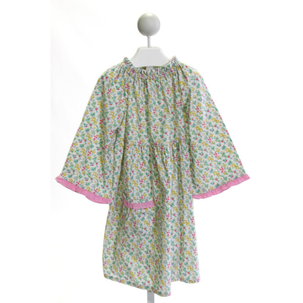 MARY & GRACE  GREEN CORDUROY FLORAL  DRESS WITH RUFFLE