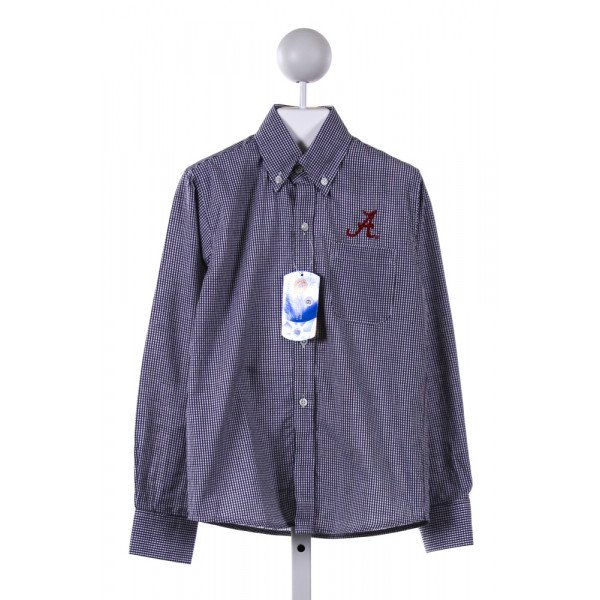 WAKEFIELDS  NAVY  GINGHAM EMBROIDERED CLOTH LS SHIRT