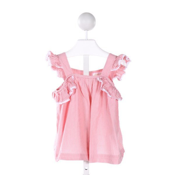 PIPPEN LANE  PINK  GINGHAM  CLOTH SS SHIRT WITH RUFFLE