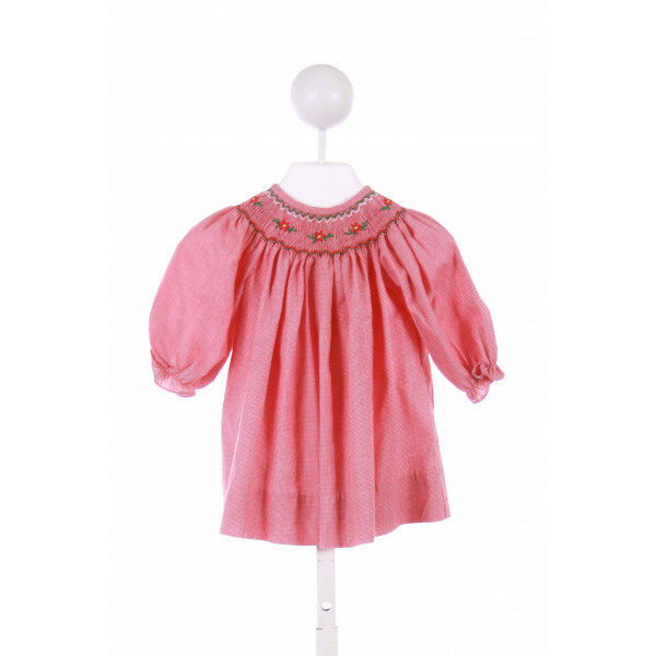 BE MINE  RED  MICROCHECK SMOCKED CASUAL DRESS