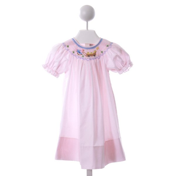 SWEET ANGELA  LT PINK   SMOCKED CASUAL DRESS