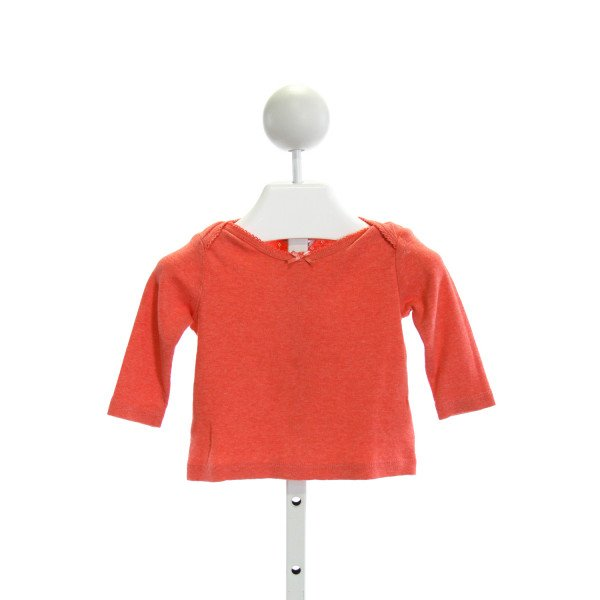 BABY BODEN  RED    KNIT LS SHIRT WITH PICOT STITCHING
