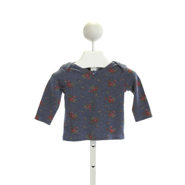 BABY BODEN  BLUE  FLORAL  KNIT LS SHIRT WITH PICOT STITCHING