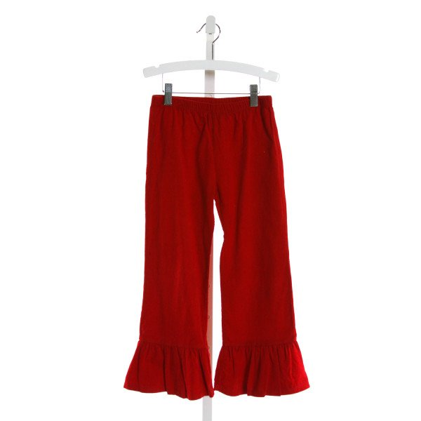 BLANKS BOUTIQUE  RED CORDUROY   PANTS WITH RUFFLE