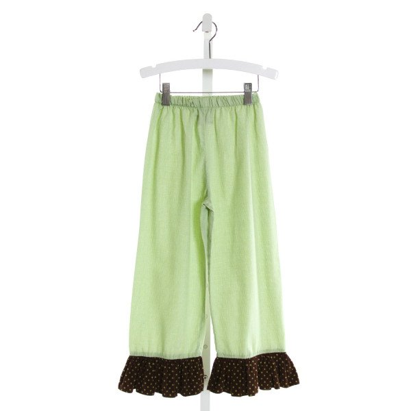 CASTLES & CROWNS  GREEN  MICROCHECK  PANTS WITH RUFFLE