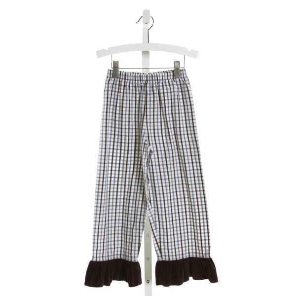 CASTLES & CROWNS  BROWN  PLAID  PANTS WITH RUFFLE
